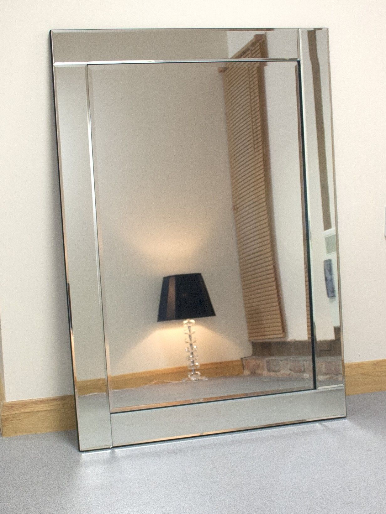 Bevelled Glass Edge Large Wall Mirror Large Wall Mirror Mirror Wall Bedroom Modern Mirror Wall