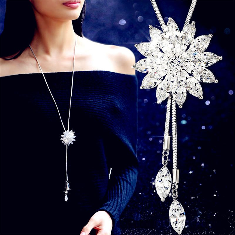 Fashion Women Crystal Flower Pendant Long Chain Sweater Necklace Jewelry Gift