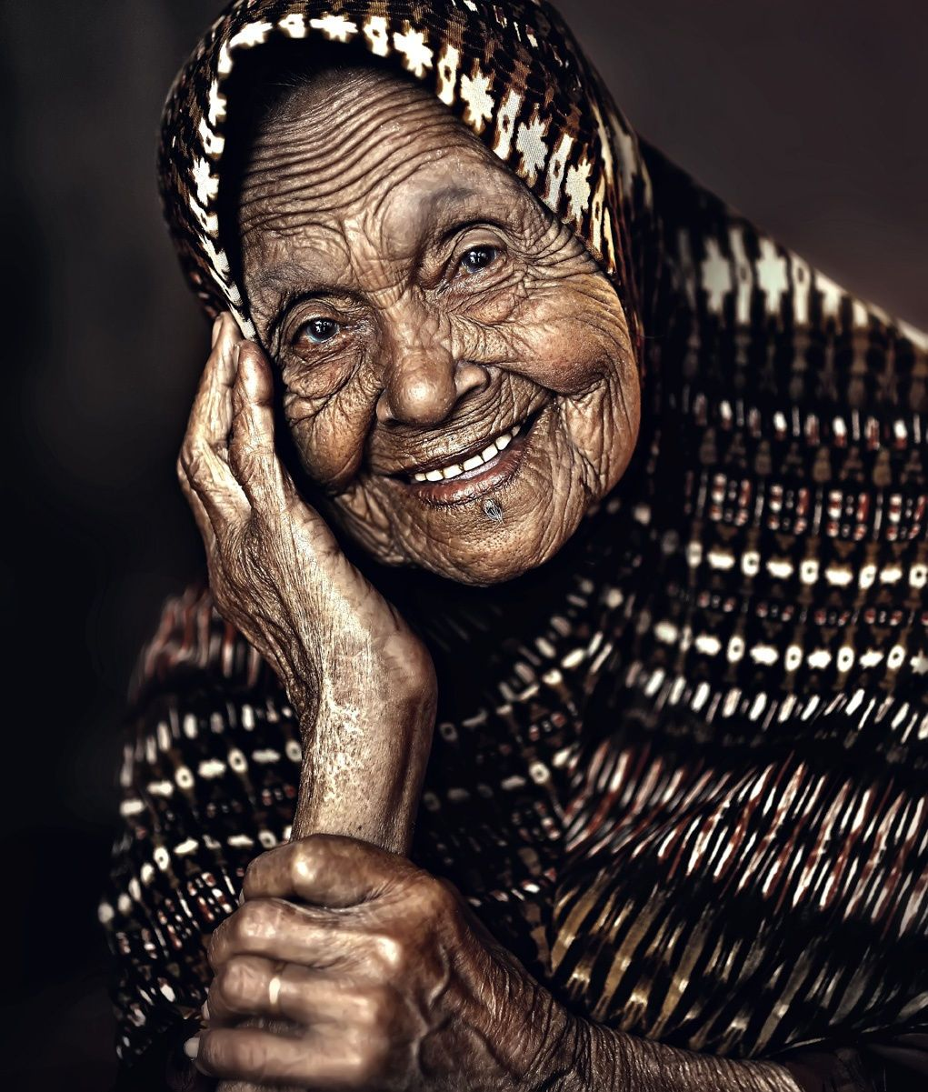 A thousand wrinkles and a beautiful smile.