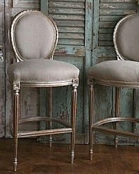 French Antique Reproduction Louis Xvi Oval Back Bar Stool Silver