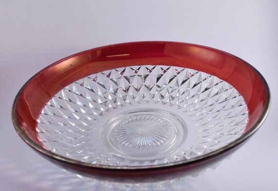 Cranberry Flash Cut Glass Bowl by OSGVintage on Etsy