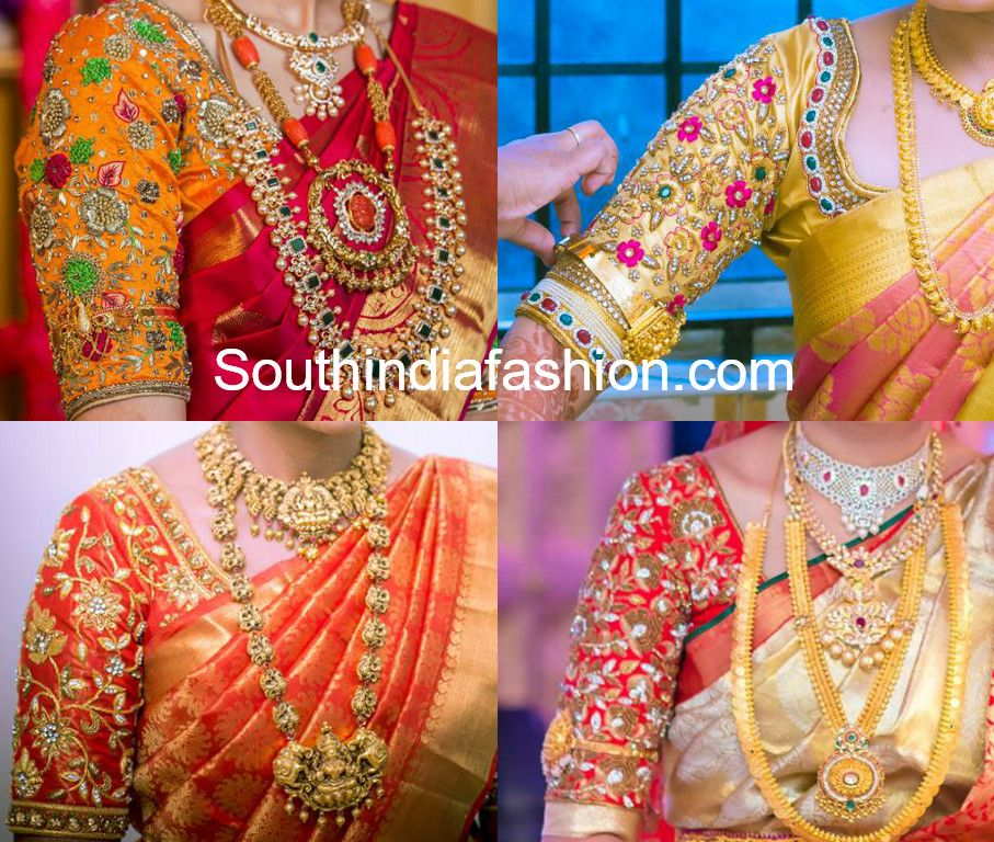 Floral Maggam Work Blouse Designs For Pattu Sarees Blouse Designs