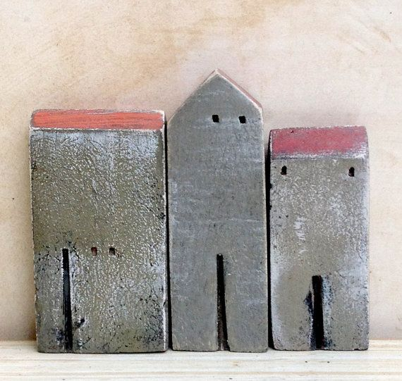 set of 3 ceramic houses made in high fired by VesnaGusmanClayArt