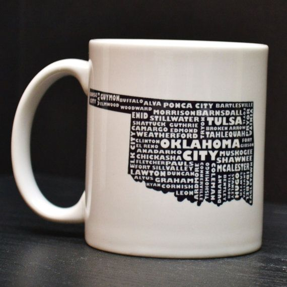 Oklahoma Coffee Mug Unique Art Tea Cup By Dailygrinder On Etsy