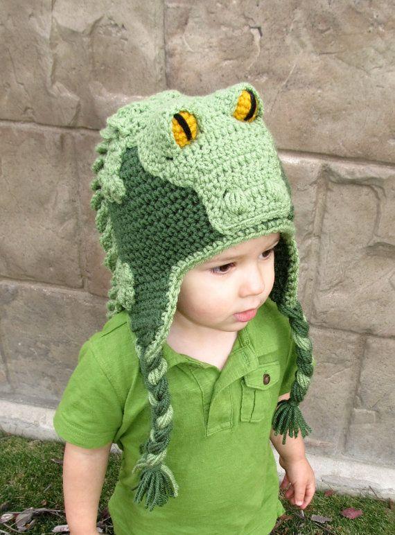 Crocodile   Alligator Crochet Hat w  Earflaps by BriAbbyHMA 355f3451d80