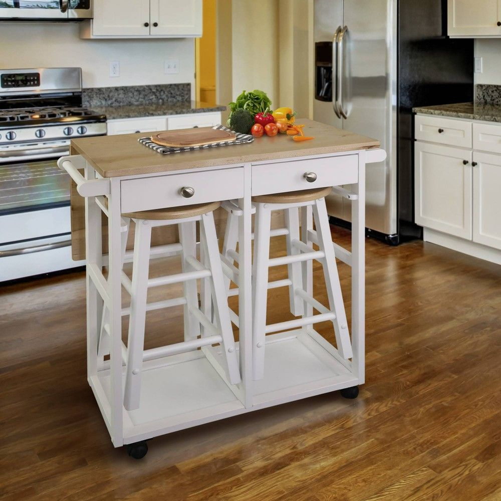 Square American Maple Drop Leaf Table Top Breakfast Cart Natural White Flora Home Kitchen Design Small Wood Kitchen Island Portable Kitchen Island