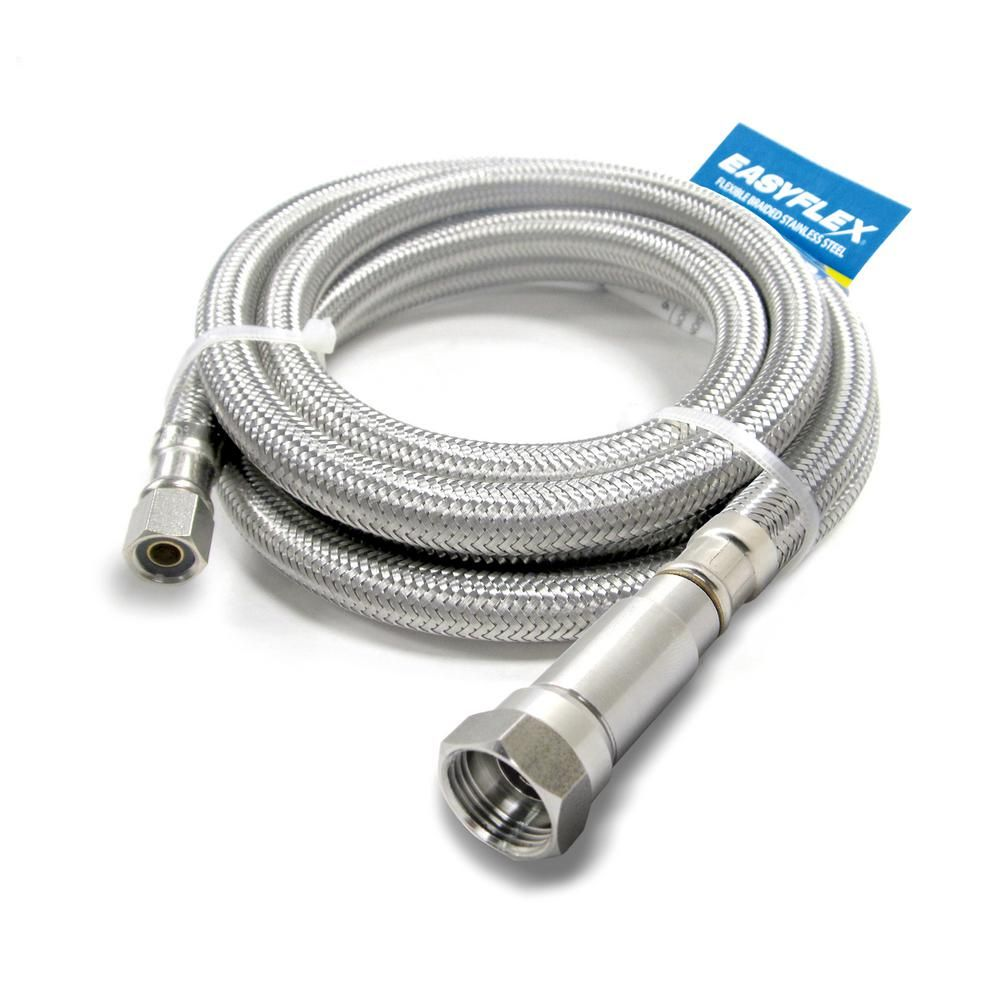 Easyflex Safeflow 1 4 In C With Efv X 1 4 In C 60 In 5 Ft Stainless Steel Braided Ice Maker Connector Efic14c14c5v Stainless Steel Brass Fittings Steel