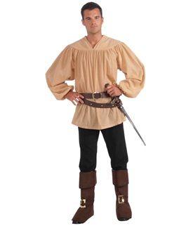 Men's Beige Renaissance Medieval Or Pirate Costume Shirt