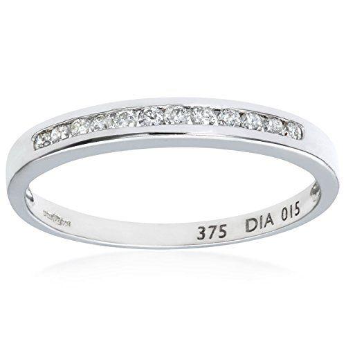 Naava Women s 0 15 ct Channel Set Diamond 9 ct White Gold Eternity