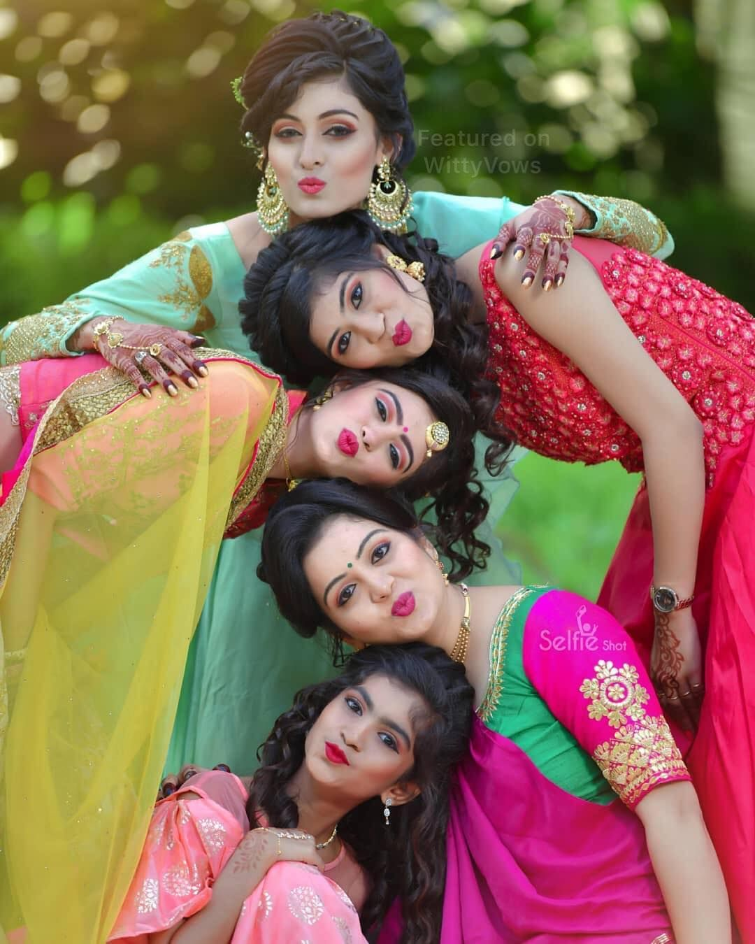 When Your Girls Have Your Back Literally Photos With Indian Indian Wedding Photography Poses Bridal Photography Poses Wedding Couple Poses Photography