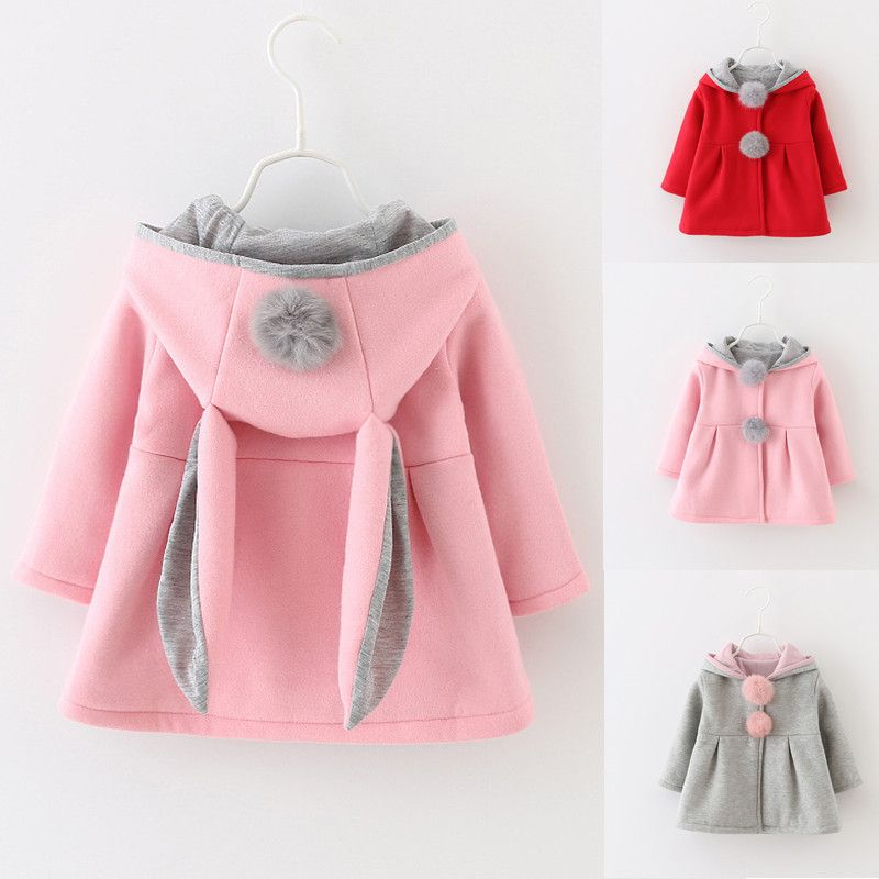 05ec238b8679 Girls Coats Cute Rabbit Ear Hooded kids jackets Autumn Winter Warm ...