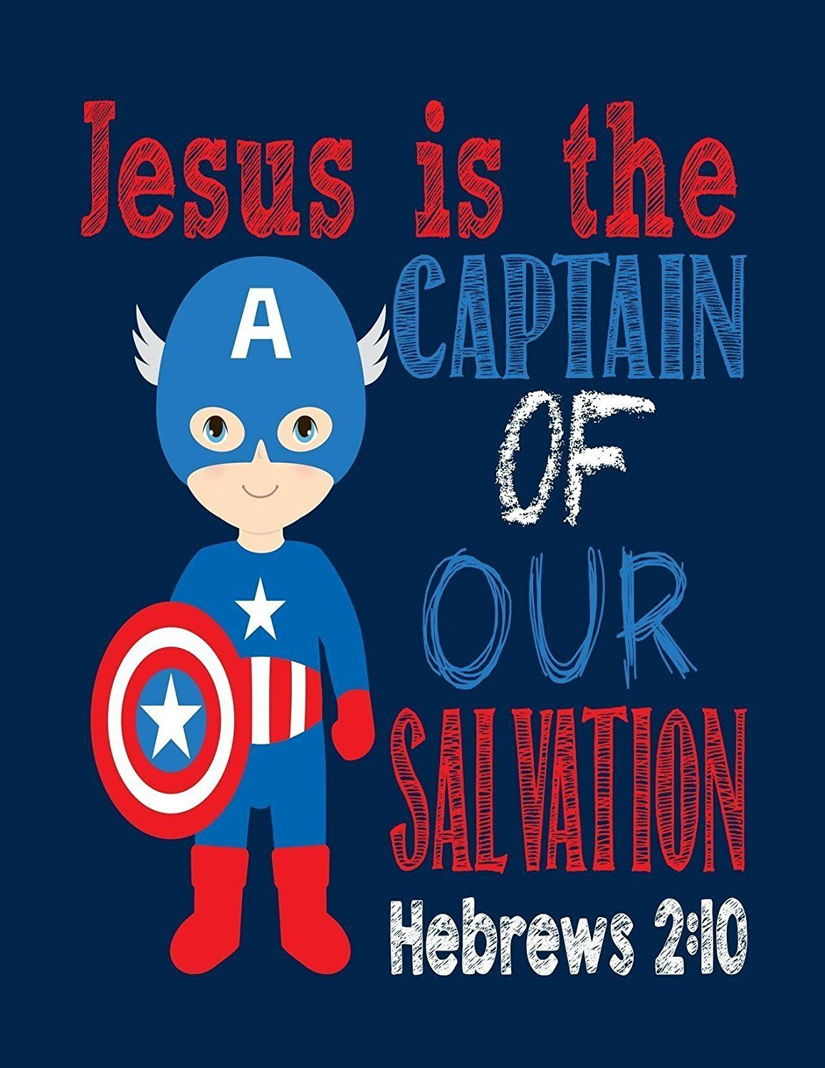 Captain America Christian Superhero Wall Art Print   Jesus Is The Captain  Of Our Salvation Hebrews 2:10 Bible Verse
