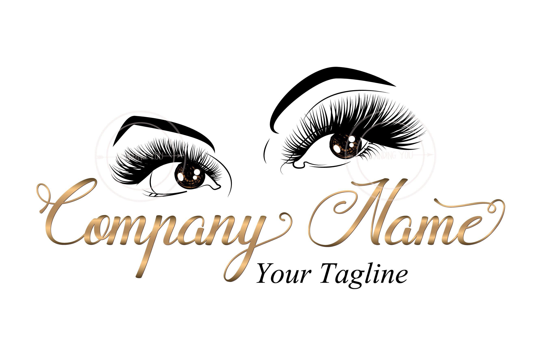 Custom logo, lashes logo, eyelash logo, cosmetics logo, gold eye