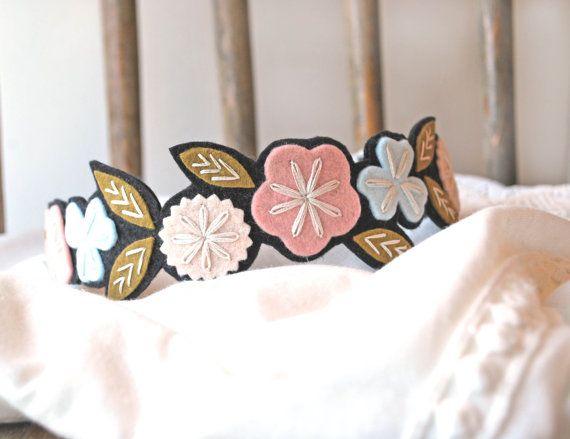 Flower Crown Headband - Floral Crown Headband - Hand Embroidered Felt Headband - Flowered Headband #crownheadband