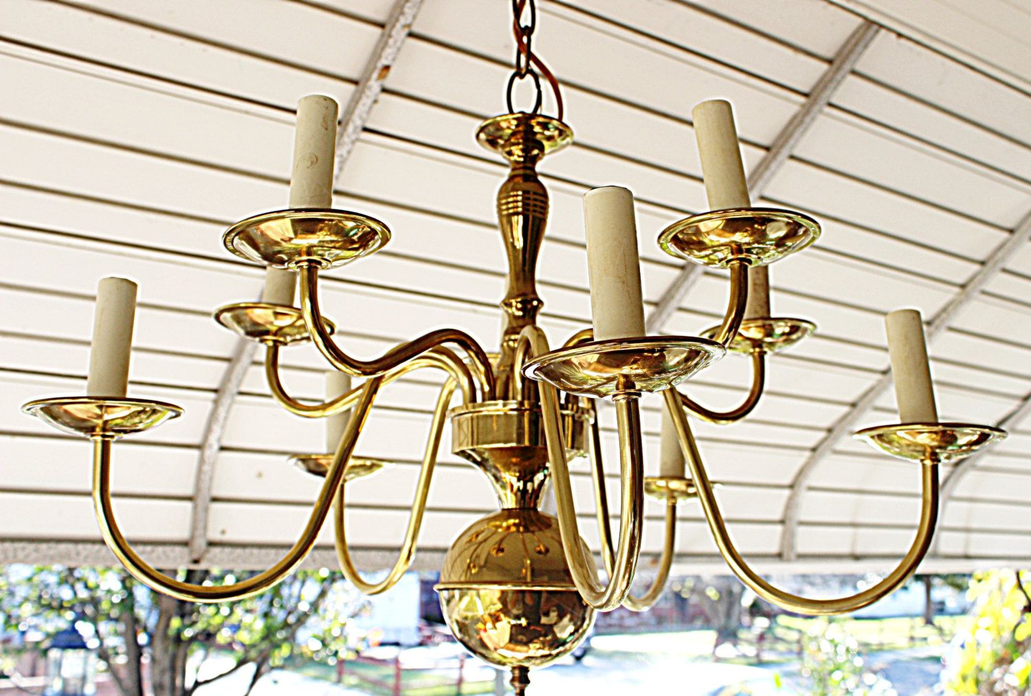 Antique Solid Brass 10 Arm Chandelier Williamsburg Exquisite No Damage Positively Lovely Long Chain 3 1 2 Quot Arm Chandelier Vintage Lamps Chandelier