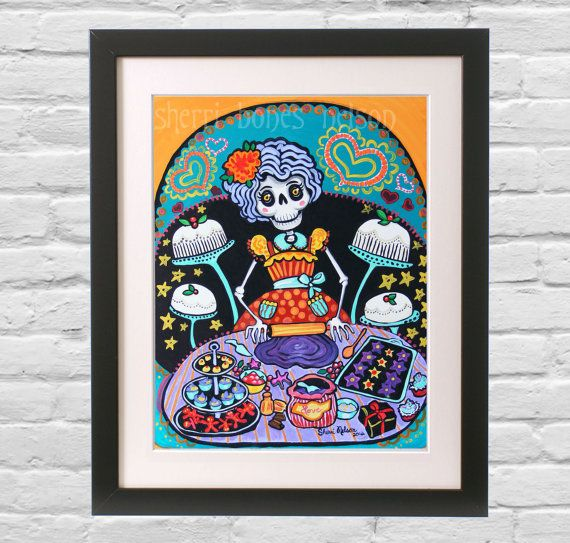 Folk Art Print Mexican Day Of The Dead Kitchen Wall By Bonesnelson 12 30
