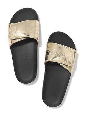6ea83f645b53 Victorias Secret Pink Crossover Gold Metallic Slides Large 9 10 Does not  apply