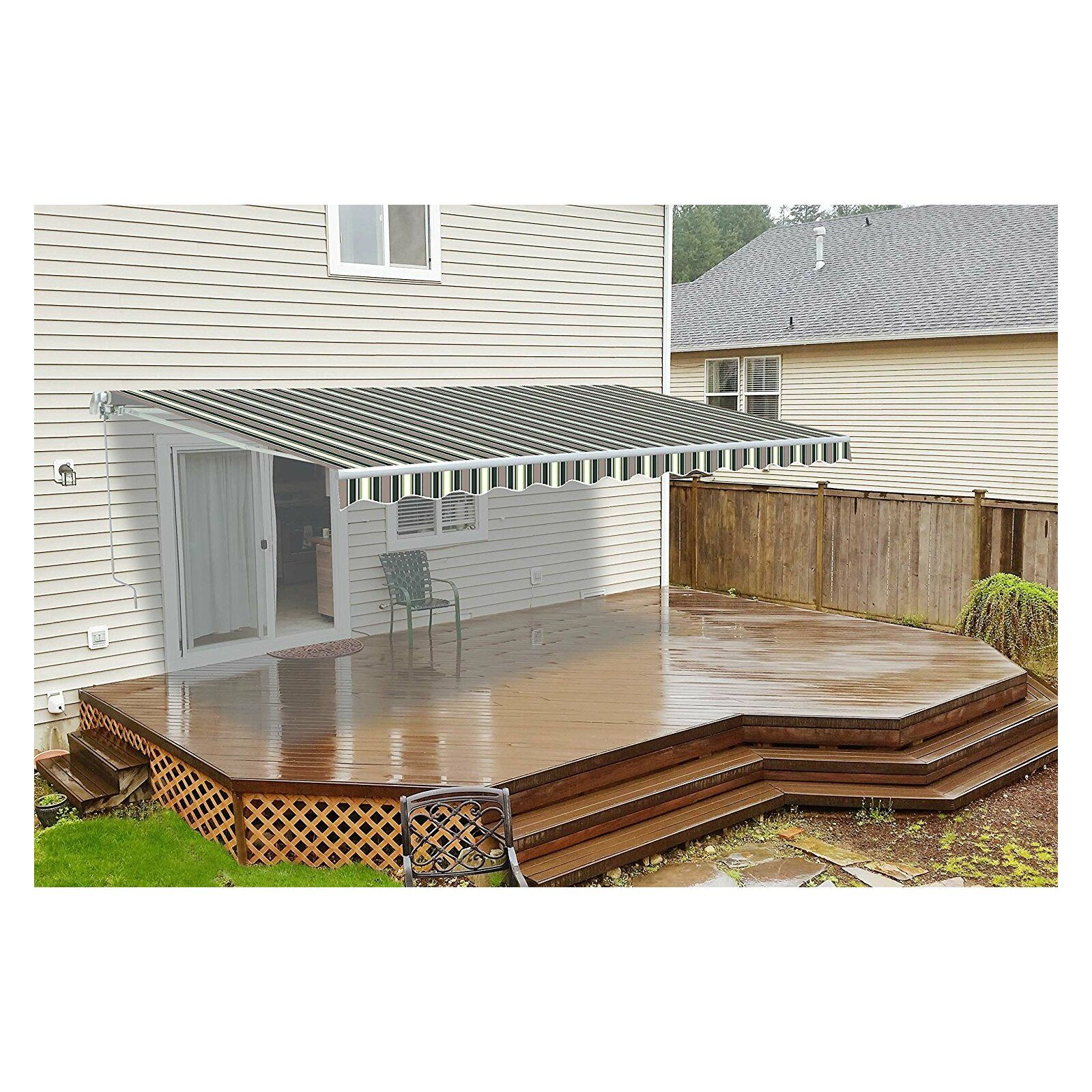 16 Ft W X 10 Ft D Motorized Retraction Slope Patio Awning Patio Awning Patio Canopy Pergola