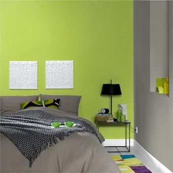 Chambre verte et grise | deco | Bedroom green, Room et Bedroom