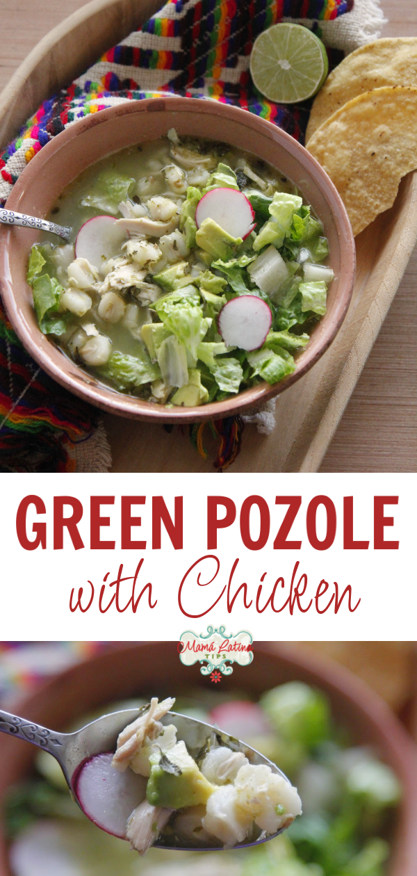 Green Pozole with Chicken This green pozole with chicken recipe is exactly like we made it at home in Mexico when I was growing up. A delightful combination of chicken, hominy, tomatillos, cilantro, garlic & spices.