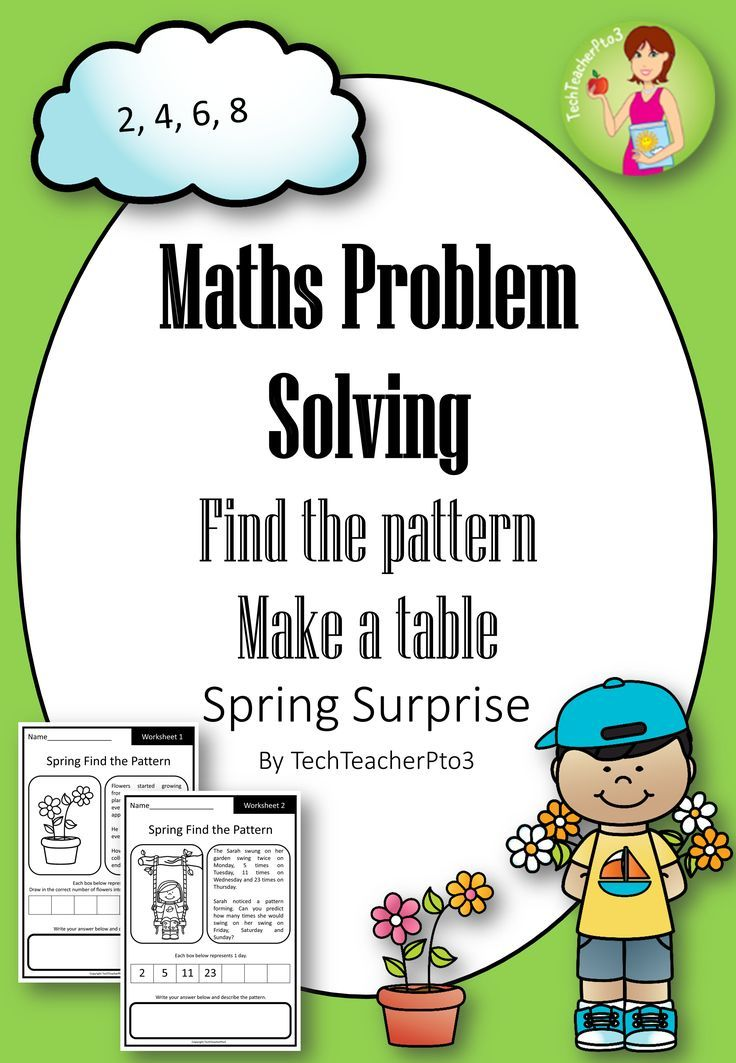 Printable Worksheets fun problem solving worksheets : Spring Maths Problem Solving: Find the pattern and Make a table ...