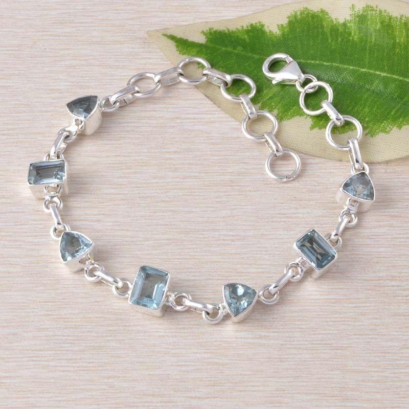 BLUE TOPAZ 925 SOLID STERLING SILVER ANTIQUE EXCLUSIVE BRACELET 9.70g BR0050 #Handmade #BRACELET