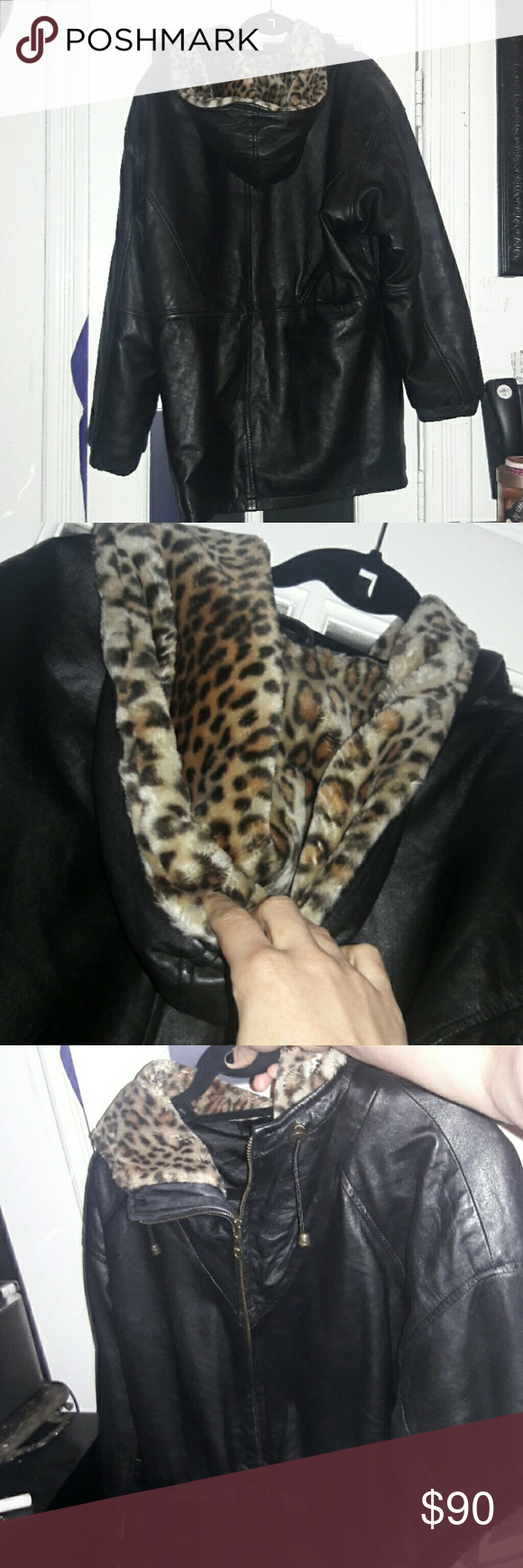 Punk Vintage Leather Cheetah Fur Jacket Fur jacket
