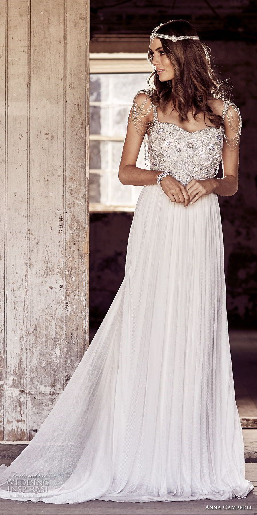 Anna campbell bridal jeweled sleeves strap sweetheart neckline