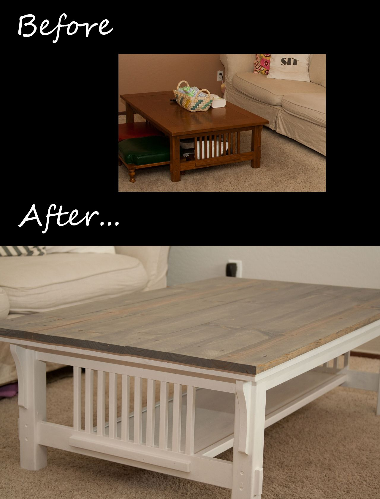 A Cheap And Easy Way To Transform A Mission Style Coffee Table Furniture Makeovers