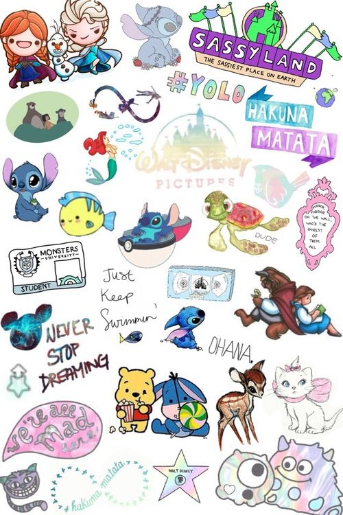 Image Via We Heart It Collage Cool Cute Disney Hipster Stickers Transparent Tumblr Wallpaper Overlays