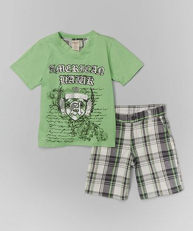 Look at this #zulilyfind! Lime & Silver V-Neck Tee & Plaid Shorts - Infant & Boys #zulilyfinds