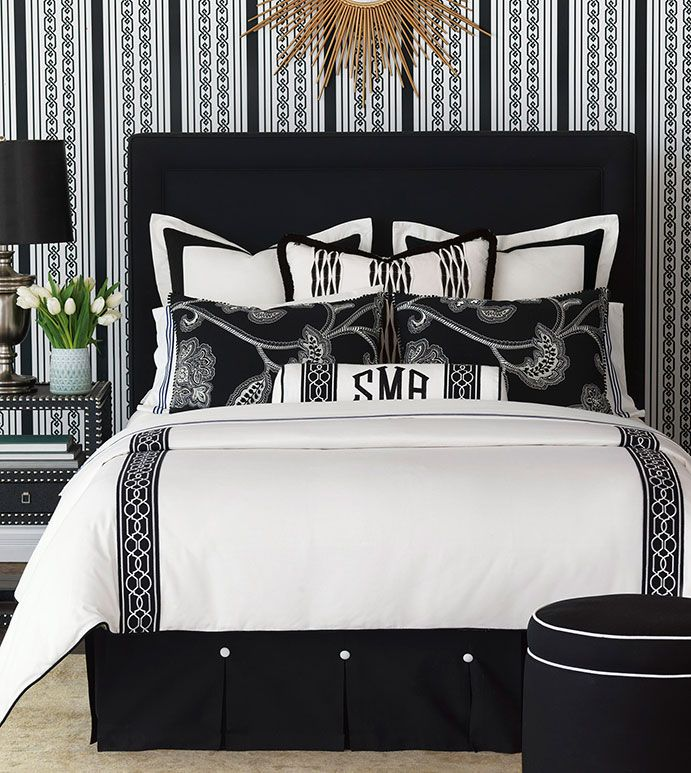 Luxury Bedding By Eastern Accents Ravensmoor Collection Makes A Statement For Black And White Decor Inspired Art Deco Geometrics