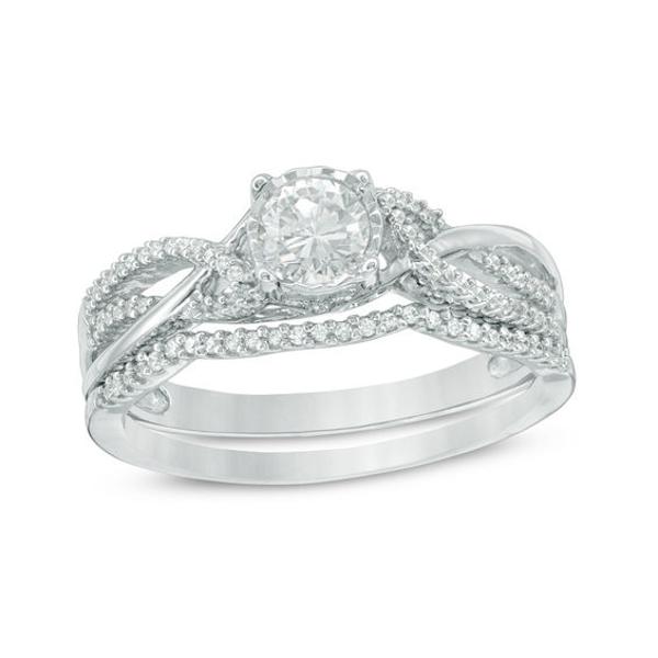 1/2 CT. T.w. Diamond Braided Bridal Set in 10K White Gold