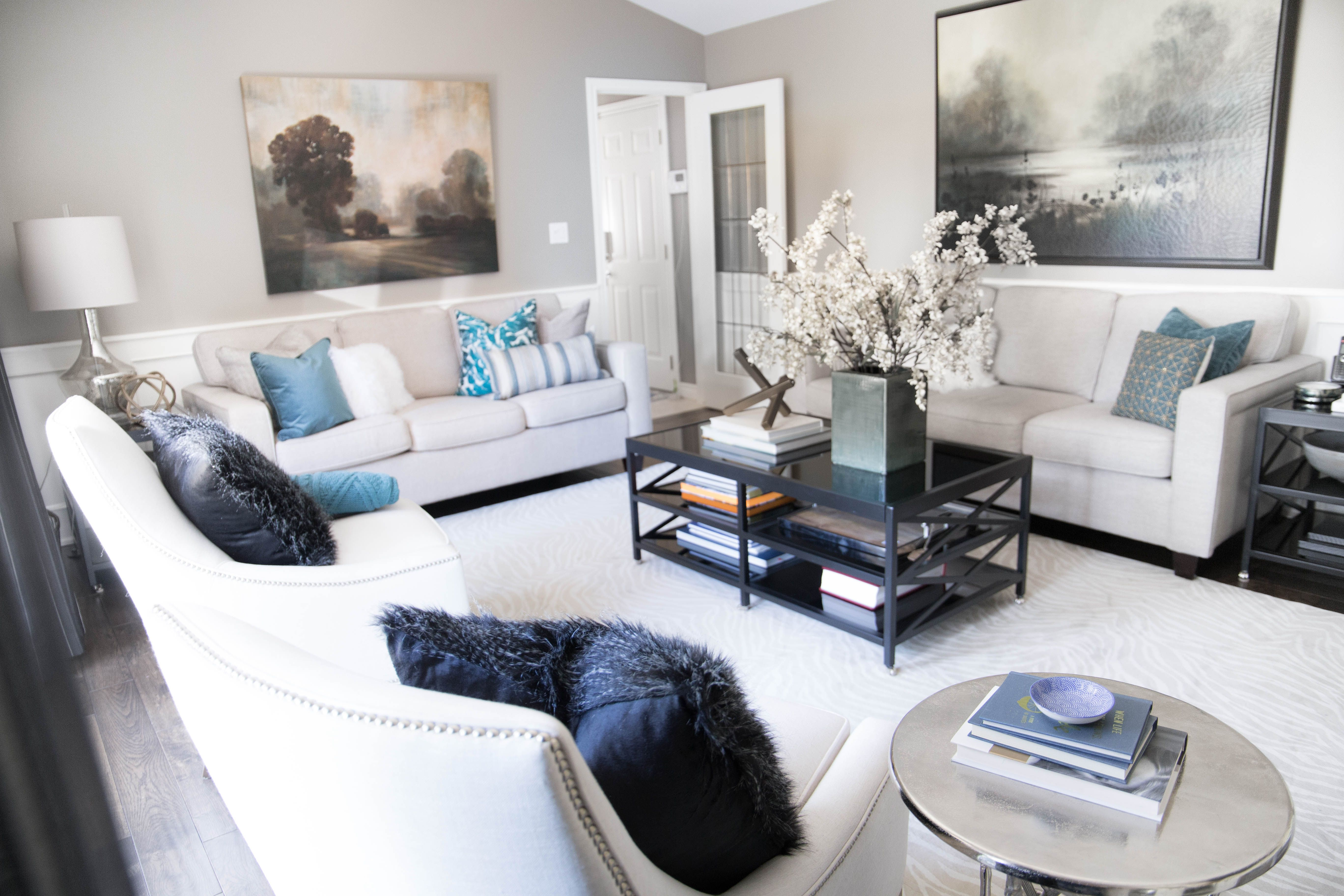 Traditional living room with teal accents. - Karin Bennett Designs ...