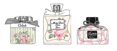 <3 Perfume bottles