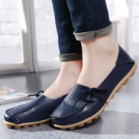 Genuine Leather Women Flats Shoe Casual Lace-up Soft Loafers Moccasins  Female Driving Shoes