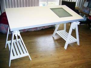 White Ikea Drawing Desk VIKA BLECKET/ VIKA ARTUR this was the main art table  i
