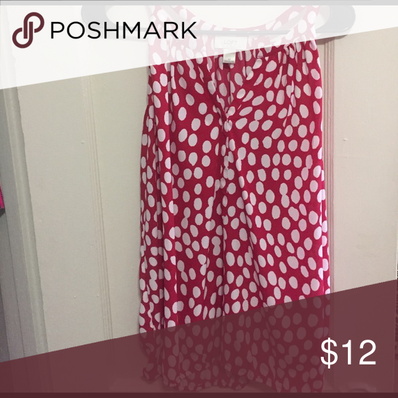 Loft tank top Pink/red tank top with white polka dots. Great neckline! LOFT Tops Tank Tops