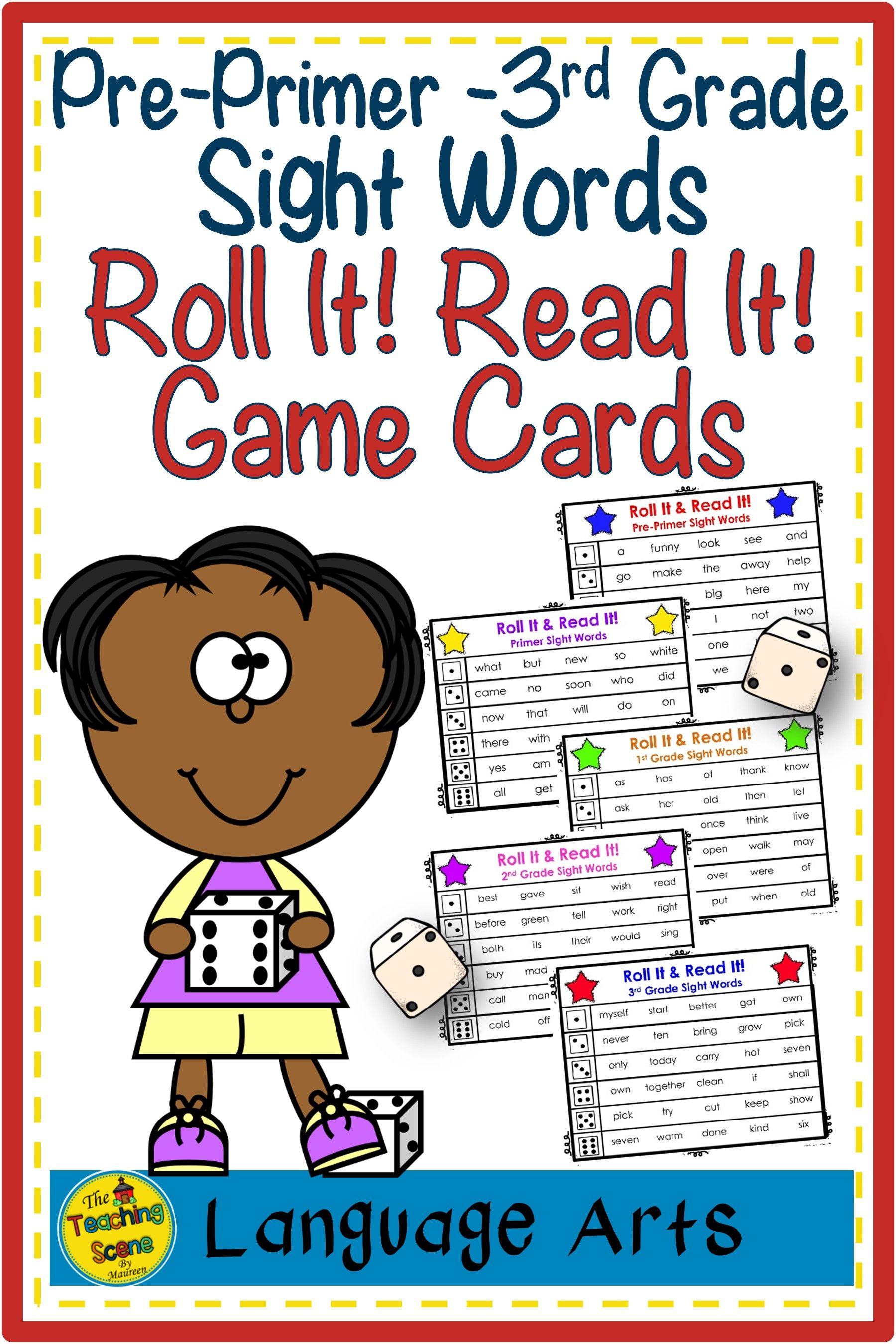 Pre Primer Through 3rd Grade Sight Words Roll It Read It Game Cards Third Grade Sight Words Sight Word Reading Sight Words [ 2700 x 1800 Pixel ]