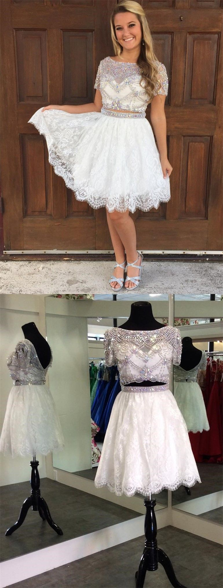 Luxurious homecoming dressbeaded homecoming dresstwo piece