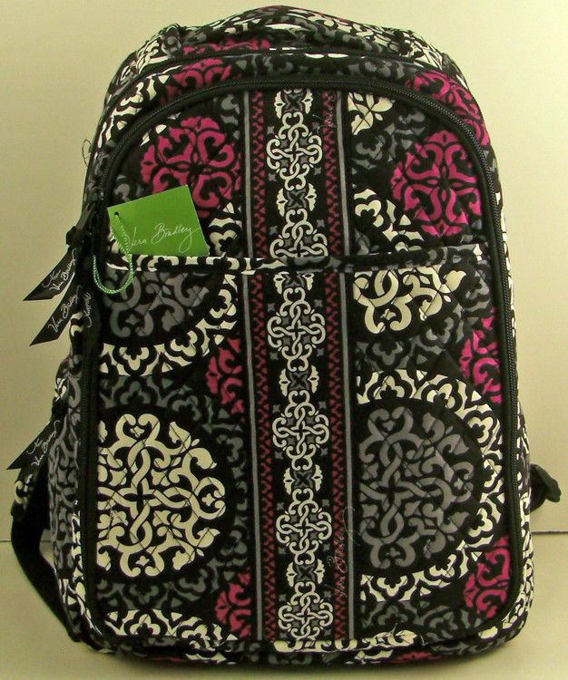 Nwt Vera Bradley Backpack Baby Bag In Canterberry Magenta Changing Pad Verabradley