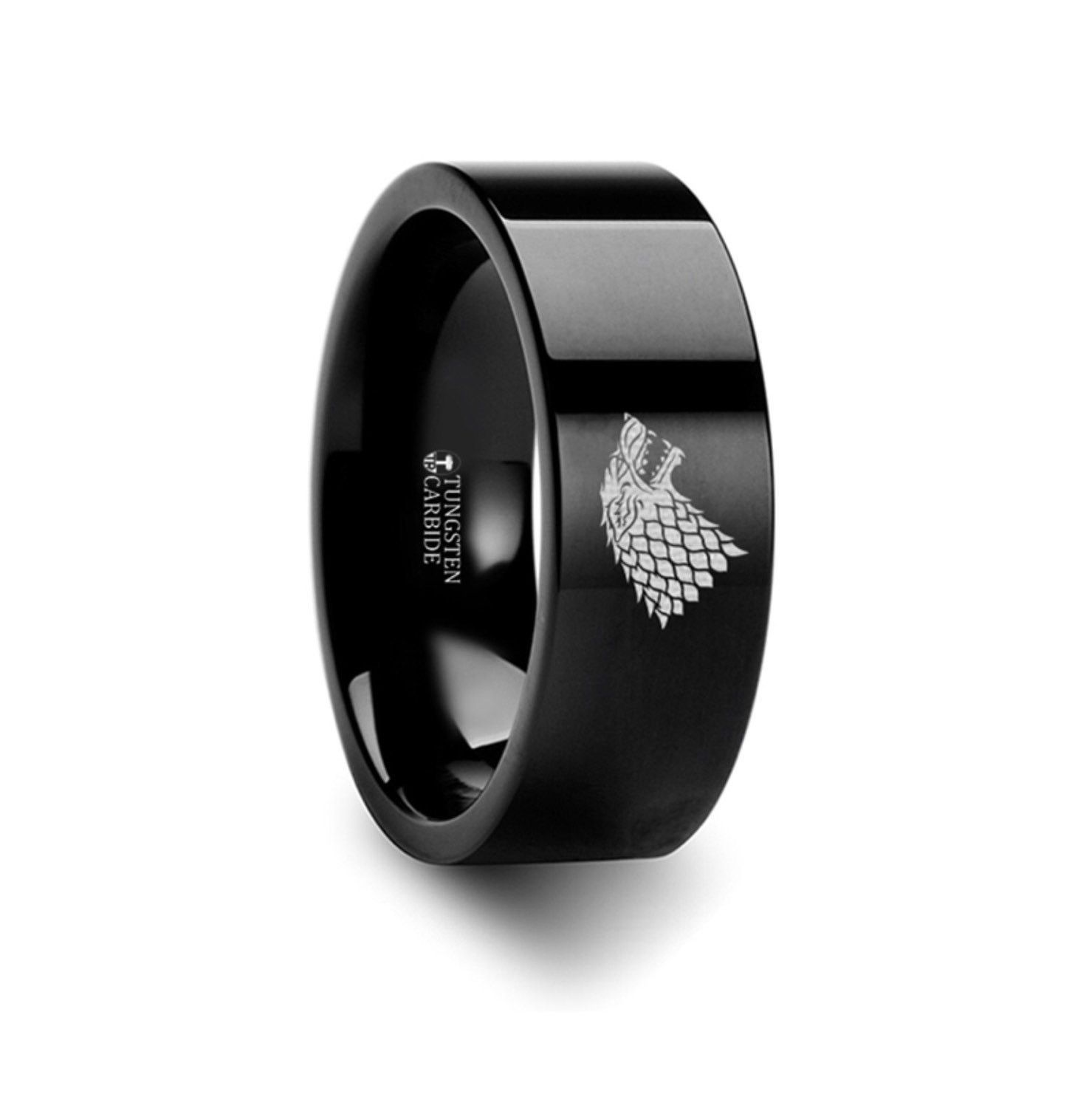 Game of Thrones Wolf Winter is Coming Symbol Super Hero Movie Tungsten Engraved Ring Jewelry - 8mm