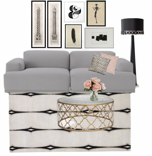 Rose Gold Black Gray Living Room