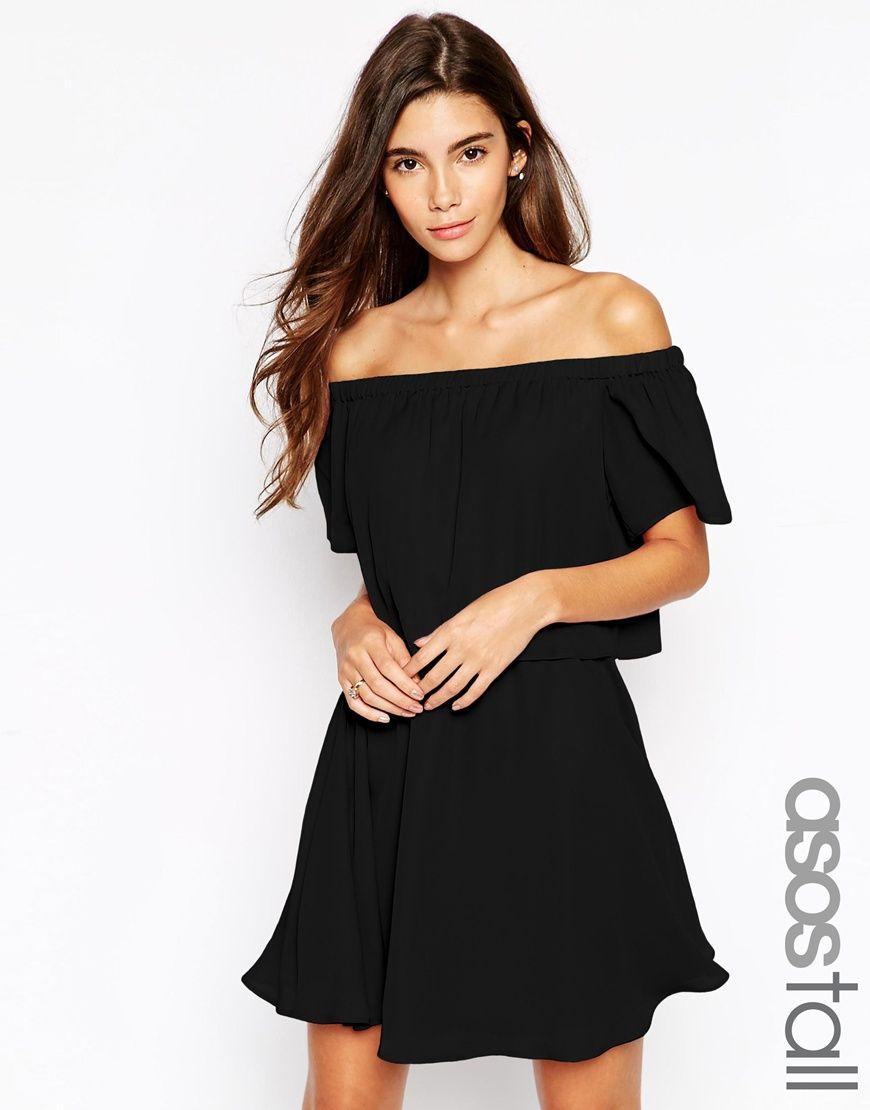TALL – Gypsy – Schulterfreies Kleid mit kurzem Ärmeln ...