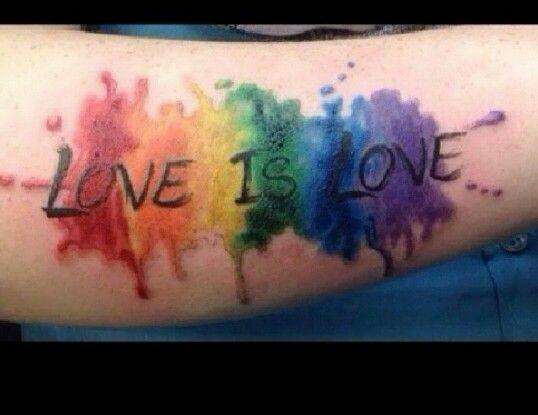 """love love"" watercolor tattoo"