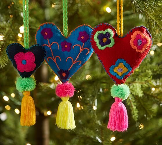 Embroidered Heart Ornaments Pottery Barn Christmas Pinterest