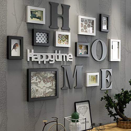 Bilderrahmen Collage Fotorahmen Collage Massivholz Kombination Wohnzimmer Fotorahmen Wand kreative Restaurant Hintergrund Wanddekoration ( Farbe : Schwarz ) - Dekoideen online finden #wallcollage