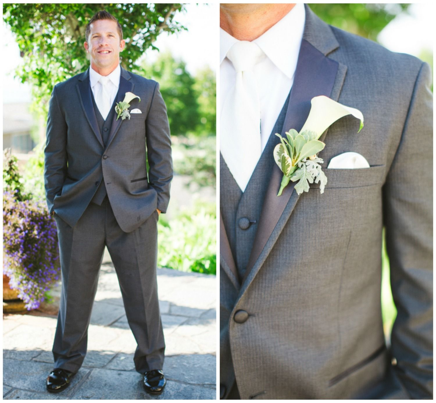 Groom in Grey Suit with a White Lily Boutonniere | Suits ...