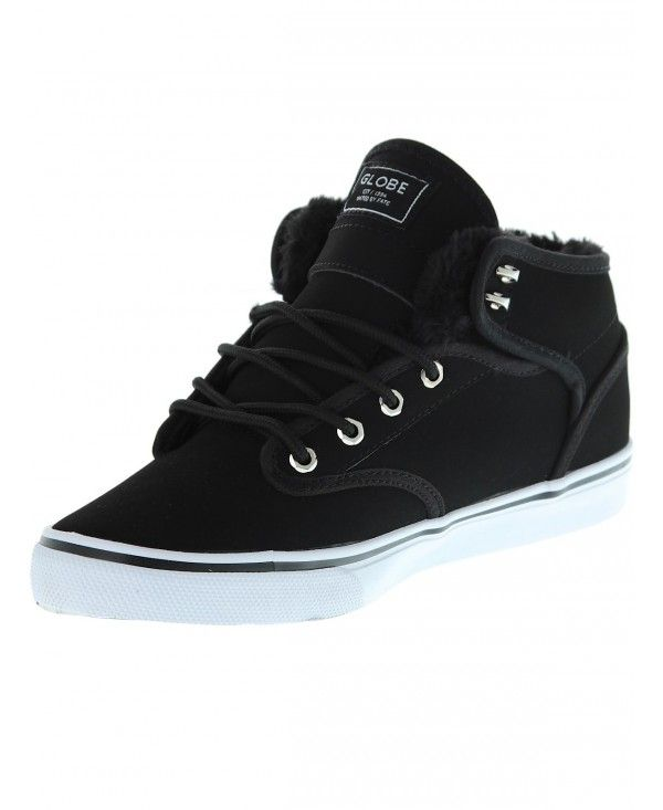 Black · Globe Motley Mid Shoes Black/White Fur ...