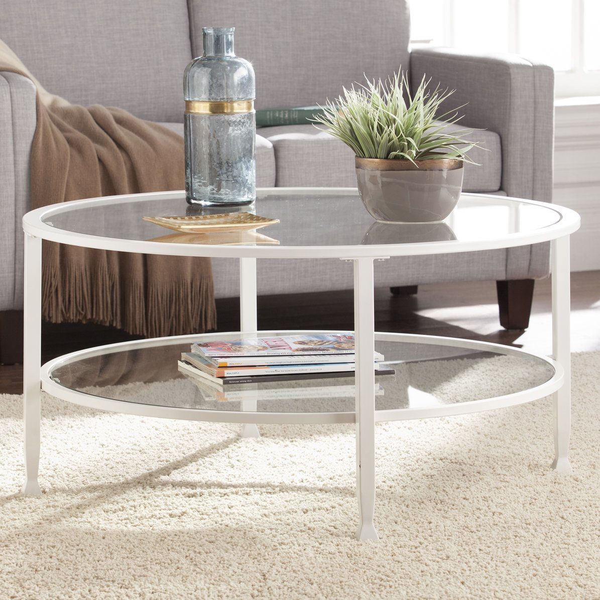 Kailani Metal And Glass Round Coffee Table White Coffee Table Modern Coffee Table Coffee Table White [ 1195 x 1195 Pixel ]